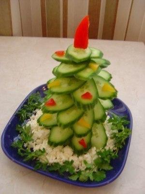 Еще изображение на тему Новогодняя елка из огурца